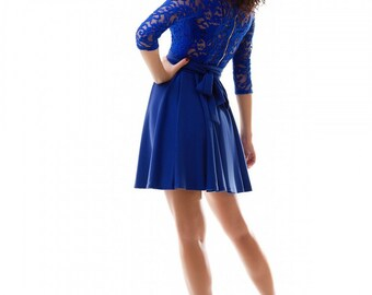 Cobalt blue dress / Bridesmade dress / Jersey dress / Autumn dress , wedding dresses , cobalt blue wedding