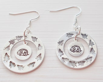 Hand Stamped Silver Camper Earrings Outdoor Trail Earrings The Camper Life Camper and Tree Jewelry Let's Go Glamping