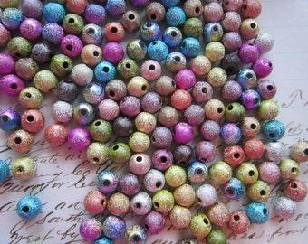 200 metallic acrylic beads - round, 5mm, textured beads - assorted colors - rainbow metallic beads