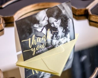 "Black and White Thank You Cards, Yellow Picture Wedding Thank You, Modern - ""Whimsical Calligraphy"" Folded Photo Thank You Cards - DEPOSIT"