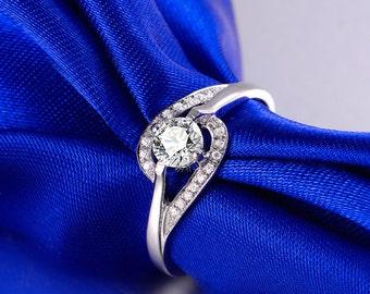 1/4 ct 18k White Gold Diamond Ring Band Engagement Wedding Birthday Anniversary Valentine's