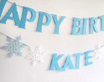 Frozen Birthday Banner, Frozen Birthday, Snowflakes,Happy Birthday, Winter Birthday, Frozen Party, Blue and White, Elsa, Frozen Princess