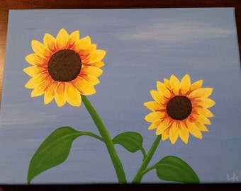 Summer Sunflowers - Acrylic Painting on 9x12 canvas