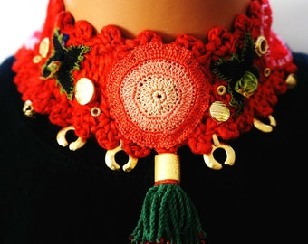 Knitted Necklace- Braided Fiber Jewelry- Hand Knit Necklace- Indian Style Jewelery- Colar - Colar Indian Style - Gift for Her