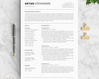Clean resume | Etsy