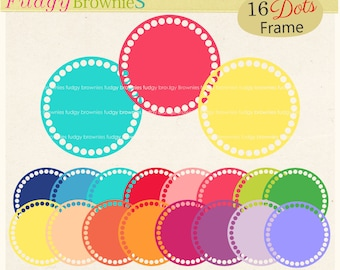 ON SALE,dots circle frames clipart ,color circle frames clip art,  instant download, png Round Scalloped frame, digital scrapbooking , A-254