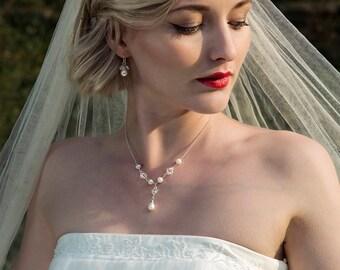 Pearl bridal necklace crystal necklace, freshwater pearl bridal jewelry pearl drop necklace, delicate bridal necklace - Flora