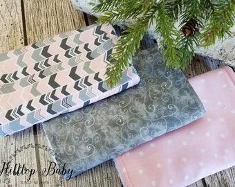 Pink and Gray Burp Cloth Set, Personalized Burp Cloth Set, Girl Burp cloth Set, Pink and Gray Baby Gift, Chevron Burp cloth Set, arrow baby