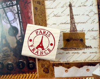 Paris Eiffel Tower Postmark Rubber Stamp
