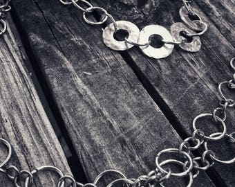 Hammered Washer Custom Link Chain Necklace - Handmade
