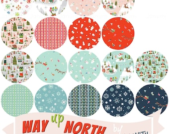 Fat quarter bundle of the Way Up North fabric collection by Jill Howarth for Riley Blake Fabrics -18 pieces complete