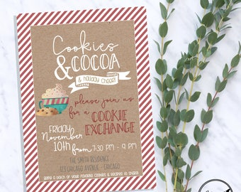 Cookies & Cocoa Cookie Exchange Swap - Super cute and fun tradition! DIY Printing or Quickly shipped prints via convo!