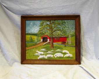 Original Oil American Landscape Painting, Signed, Framed, Impressionist and Pointillist, Covered Bridge