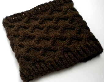 Cowl Dark Brown Cable Bulky Knit Neckwarmer