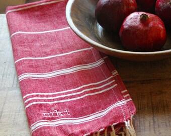 Turkish red monogrammed hand towel