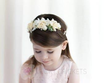 Ivory Floral Crown, Ivory Flower Crown, Natural Flower Crown, Flower Girl Crown
