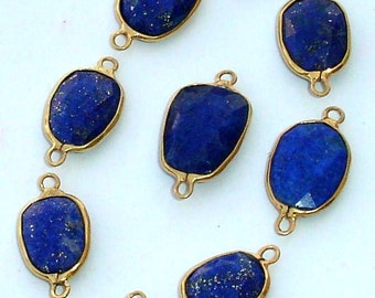 925 Sterling Silver, LAPIS LAZULI, 24K Gold Plated Connector,ONE Piece of 13-16mm