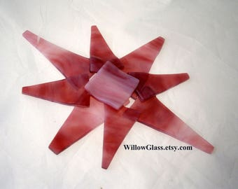 Fused Glass North Star Ornament, Streaky Pinks Glass Star Ornament, Glass Ornament,  Willow Glass
