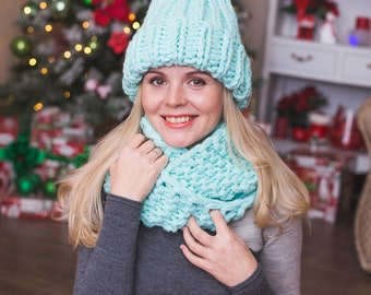 Knitted hat and scarf set winter for women