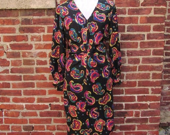 Albert Nipon 80s Silk Dress Vintage Paisley and Polka Dot Jacquard Size SMALL