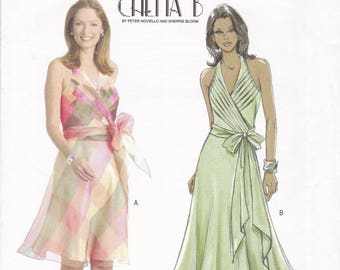 FREE US SHIP Butterick 4514 Sewing Pattern Chetta B Pleat Tuck Halter Dress Size 14 16 18 20  Bust 36 38 40 42 Plus New 14/20