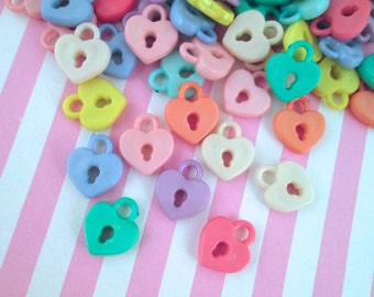 25 Assorted Heart Lock Charms Heart Lock Cabochons #334