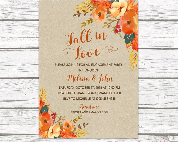Fall in Love Engagement Party Invitation, Fall Leaves Wedding Invitation, Leaves Invitation, Falling in Love, Rustic Engagement Party Invite