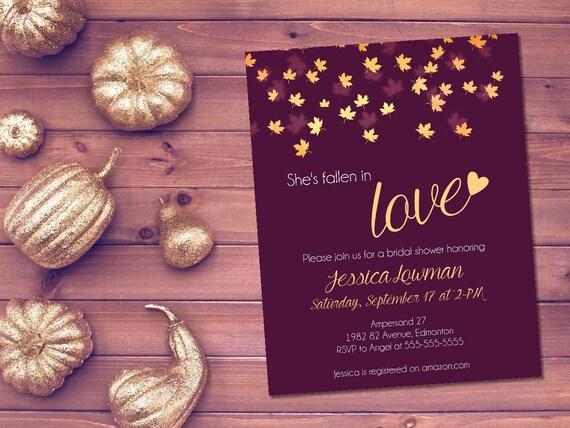 Fall Wedding Shower Invitations: Printable Fall Bridal Shower Invitation / Autumn Bridal Shower