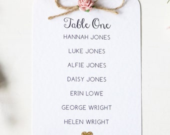 Rustic Rose and Twine Wedding Table Plan Card