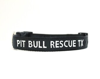 Custom Personalized Embroidered Black Nylon Dog Collar