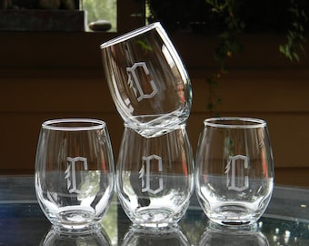 Personalized Stemless Wine Glass Tumblers Engraved with Initial, Set of 4 -  Birthday. New Home. Engagement