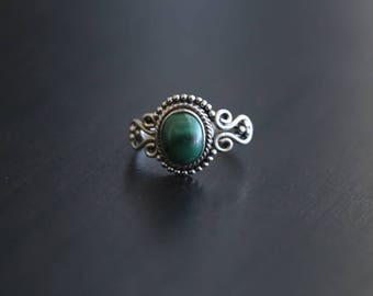 Malachite Ring Oval, Malachite Ring, Silver ring,  US 7.5