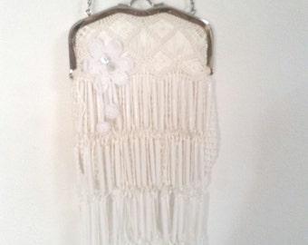 white fringed bag, boho handbag,  bohemian bag, upcycled bag, ULTIMATE boho bag, fringed white purse, hippy gypsy bag