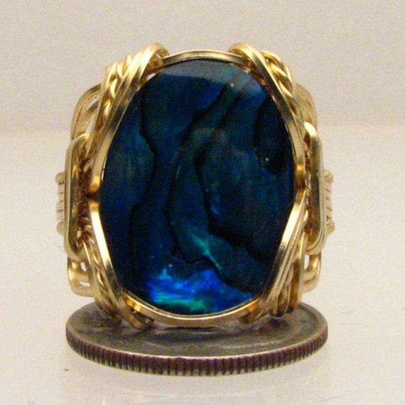 Handmade Solid 14kt Gold Wire Wrap Blue Paua Shell Ring