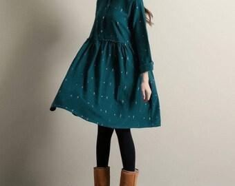 Little People Print Corduroy Dress