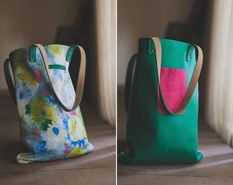 Leather Bag, Flowers Leather Bag, Two Faces Leather Bag, Leather Tote Bag, Shoulder bag, Green Leather Bag
