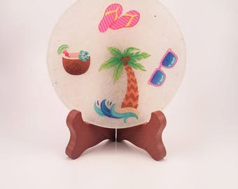 Island Time 2 Five Inch Handmade Resin Coaster FI0334