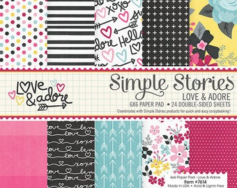 Love & Adore 6x6 Paper Pad by Simple Storeies, Valentine Cardstock