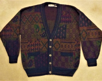Vintage Hipster Cosby Grandpa Cardigan Sweater Size 1X