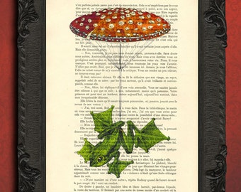 frog print, red mushroom parachute art, vintage frog home decor, upcycled French dictionary print book page art, frog art