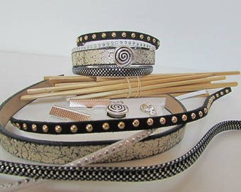 Silver Black Cuff Bracelet Kit passing GR - 148