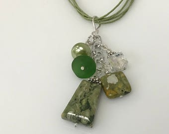 Handmade Rhyolite Cluster/Pendant With Iridescent Crystal, Sea Glass, Pearl
