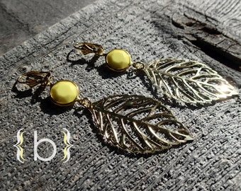 Summery gold leaf earrings with lemon yellow opaque beads