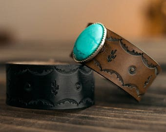 Boho Leather Bracelet, Leather Bracelet, Leather Turquoise Cuff, Southwest Leather Cuff, Native American Leather Cuff