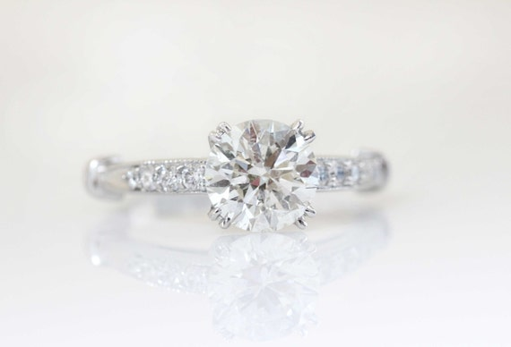 Antique Style Round Diamond Engagement Ring