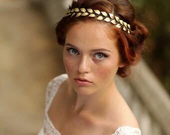 Gold leaf headband Gold bridal hair vine Leaf wedding headband Gold leaf crown Greek bridal headband Leaf bridal hair vine Gold bridal halo
