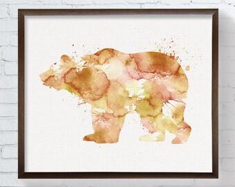 Bear Art Print - Grizzly Bear - Watercolor Bear - Bear Painting - Woodland Animals - Nursery Wall Decor, Boys Room Decor, Brown Bear,  Art
