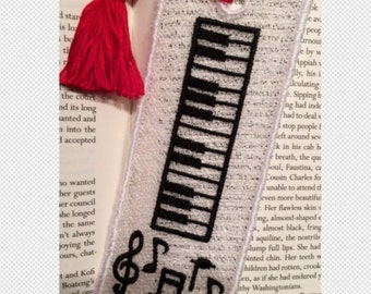 FSL BookMark Piano Keys- Music Lover Gift -  Book Lovers Gift - FSL - Embroidery Design - Multiple Formats