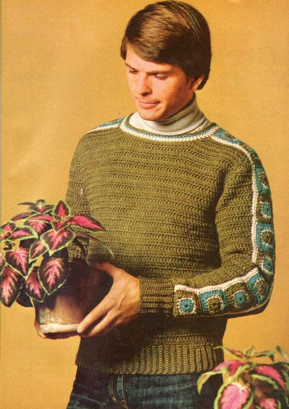 Vintage Crochet Pattern Men Mans Gender Neutral Granny Square