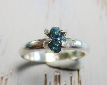 Rough Raw Rustic Conflict Free Blue Diamond Sterling Silver Ring Size 6